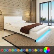 vidaXL Estrutura cama, couro artificial com faixa LED, branco, 140 x 200cm