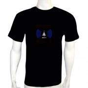 LED Electro Luminescence Airing Shaped Sound Activated Electro Luminescence Flashing Dancing T Shirt Black 12012