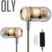 Oly Audio X15 In Ear Headphones with Mic - Soft Gold - Premium Metal Earphones for Mobile with Carrying Case - Noise Cancelling Stereo Headset with Tangle Free Cables - Sweatproof Sport Earbuds - Best Quality Handsfree with HD Bass and Treble