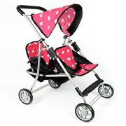 The New York Doll Collection My First Doll Twin Stroller - Cutest Heart Design Doll Twins Stroller -
