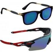 Zyaden Wayfarer, Wrap-around Sunglasses(Blue, Multicolor)
