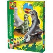 Детски креативен комплект за отливки и оцветяване, Т-рекс, SES, 080796