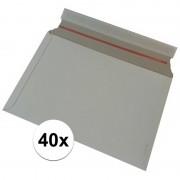 Merkloos 40x Kartonnen enveloppen wit 38 x 26 cm