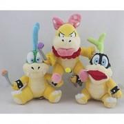 "Super Mario Plush 5.9""/15cm Iggy Koopa Wendy O. Koopa & Larry Koopa Set Doll Stuffed Animals Soft Figure Anime Collection Toy"