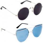 Rich Club Cat-eye, Round Sunglasses(Blue, Black)