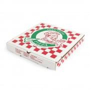 Cutii Pizza Albe Personalizate, 32x32x3.5 cm, Tipar 1, 2 Culori, Carton Microondulat Albit, Cutie Personalizata pentru Pizza, Cutii Personalizate pentru Pizza - Ambalaje Personalizate