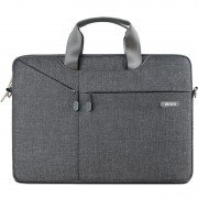 WIWU Oxford Travel Sleeve Pouch Handbag with 3-way Use for 12-inch MacBook Laptop - Dark Grey