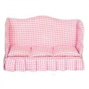 Dollhouse Living Room Sofa Pink Fabric