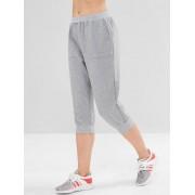 Zaful SPORTS ZAFUL Pantalon Jogging Court avec Poches Couleur Chinée Nuage Gris L