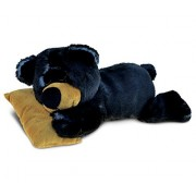 Puzzled Sleeping Black Bear With Pillow Super - Soft Stuffed Plush Cuddly Animal Toy / Wild Animals Theme 10.5 Inch (5384)