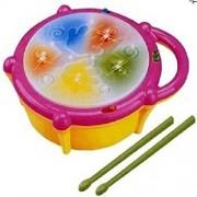BASAVA Musical Flash Drum with Flashing Lights and 2 Sticks for Kids