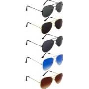 GOODWILLCRAFT Aviator Sunglasses(Black, Brown, Green, Black, Grey)