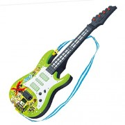 Inditake Children Guitar Toy,Rock Band Music 4 Strings Electric Guitar Kids Musical Instruments Educational Toy (Green Cartoon Pattern)