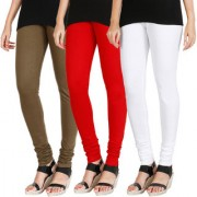 HRINKAR MEHENDI RED WHITE Soft Cotton Lycra Plain leggings for womens combo Pack of 3 Size - L XL XXL - HLGCMB0696-XL