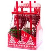 Fľaša so slamkou vianočný dekor, sada 4ks