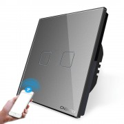 Intrerupator dublu WiFi cu touch Cnskou, panou tactil de sticla cristal, gri