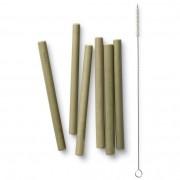 Bambu Sugrör i ekologisk bambu - Korta, 6 st + Diskborste