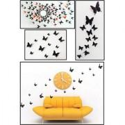 Jaamso Royals 'Black 3D Butterflies' Wall Sticker 1 Combo of 12 Piece (PVC Vinyl 13 cm x 15 cm 3D Stickers )