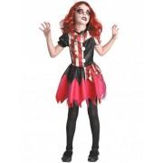Disfraz payaso ensangrentado rojo y negro niña S 4-6 años (110-120 cm)