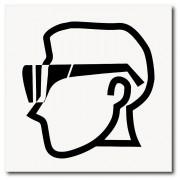 Placa uso de óculos de EPI 20x20 cm em ps 2mm