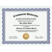 Crossword Puzzle Crosswords Puzzles Degree: Custom Gag Diploma Doctorate Certificate (Funny Customized Joke Gift - Novelty Item)