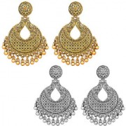 Desire Collection Afghani Tribal Oxidised Earring Combo 22k Gold Plated German Silver Earrings For Women Girls