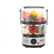 Inalsa Gourmet Multi-Function 500W-Food Steamer & Egg Boiler with LED Indicator,BPA-Free 2 Tier Stackable Baskets,Stainless Steel Base ,Auto-Stop & Dry Run Protection,Fits 14 Eggs In One Go Food Steamer(5 L, Black, Silver)