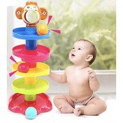 Bighub Ball Drop Toys Swirl Ball Tower Roll Swirling Ramp for Baby and Toddler Development Educational Toys, Stack, Drop and Go Ball Ramp Toy Set Includes 3 Spinning Activity Rattle Balls with Bells