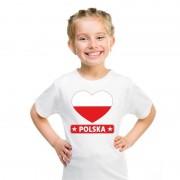 Bellatio Decorations I love Polen t-shirt wit kinderen S (122-128) - Feestshirts