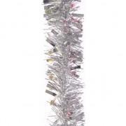 Merkloos 2x Zilveren kerstboomslinger 200 cm