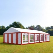 tendapro.it Tendone 6x12m PVC bianco-rosso Gazebo per Feste e Giardino