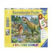 Пъзел Ravensburger 100 ел. - Светът на динозаврите, с книжка за оцветяване, 7013695