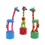 Berry President(TM) Set of 3: Wooden Cute Colorful Giraffe Push Puppets,Swing Dancing Body Giraffe Desktop Toys Cartoon Fingers Toys Home Kids Room TV Cabinet Decoration