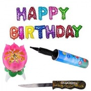 De-Ultimate Set Of Balloon Air Pump Multicolor Happy Birthday Letters Balloon Cake Candle Knife For Birthday Party Decor