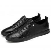 Mode casual gedrukte microfiber lederen casual schoenen voor mannen (kleur: zwart grootte: 39)