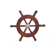 "Handcrafted Model Ships Deluxe Class Wood and Brass Decorative Ship Wheel 6"" - Nautical Decoration -"