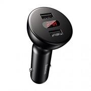 Incarcator telefon auto, Baseus Shake-Head, cu display voltaj/putere, 4.8A, negru