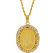 MissMister Gold Plated CZ American Diamond Durga Sherawali MATA Image Embossed Oval God Pendant Locket Chain Necklace Temple Jewellery for Men Women Boys Girls