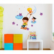 Wall Stickers Playing Kids Around Stars and Moon Design For Kids Room Decoration Vinyl