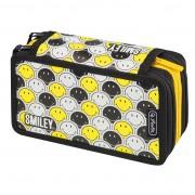 Penar Herlitz echipat triplu (3 compartimente) 31 piese Smiley Black&Yellow Faces