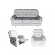 Set Canapea 3 locuri extensibila si 2 fotolii cu reclinere manuale Mobila Domnel Md.9939 stofa Bej 72 PARAMOUNT