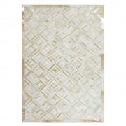Echtfell Teppich in Creme Weiß und Goldfarben Patchwork Design