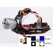 Dual light 200w Fejlámpa 2led kék/fehér led 2db Akkumulátorral Cree Led Zoom ACK-4038