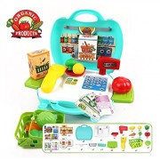 (Angel Impex) 23 Pcs Suitcase With Organic Products Kitchen Play Set For Interactive Kitchen Learning For Kids (Green)