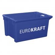 EUROKRAFT Drehstapelbehälter aus lebensmittelechtem Polypropylen Inhalt 50 Liter, VE 3 Stk Wände und Boden geschlossen, blau