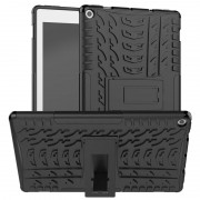 Amazon Kindle For Amazon Kindle Fire HD 10 2019 Tire Texture TPU + PC Shockproof Case with Holder(Black)