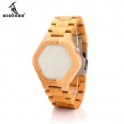 BOBO BIRD E03 Bambooo Wooden WristWatch Mens Kisai Wood Led Watch Unique Night Vision Full Bamboo Clock With Box