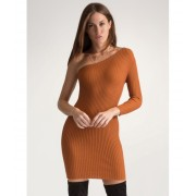 CheapChic One-up Asymmetrical Sweater Dress Cognac