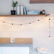 Guirlande Guinguette 14,25m 60 LED Blanc Chaud Câble Noir Raccordable Série Essentielle