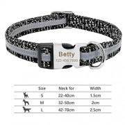 YuanSu Collar De Perro De Nylon Collar For Perro Personalizado Grabado Etiqueta De La Identificación Placa De Identificación Reflectante For Pequeña Mediana Grande Perros Pitbull Amasado Collares de C